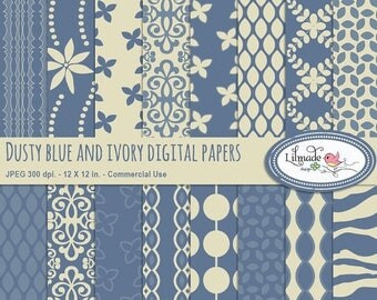 65%OFF SALE Digital papers, dusty blue and ivory digital paper, digital scrapbook paper, patterned papers, P319
