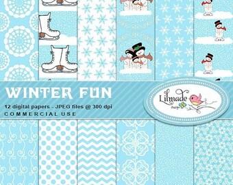 50%OFF Winter digital papers, Snow digital papers, Christmas digital papers, snowman digital papers, digital scrapbook papers, P337