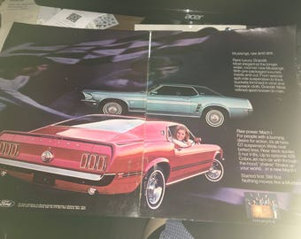 1969 Ford Mach 1 Mustang large 13 x 21 color ad.