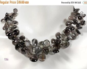 ON SALE Smooth Cats Eye Sillimanite Briolettes Pear Shaped Beads Flat Teardrops Mined Gemstone - 3.5-Inch Strand - 19 Beads - 6x4 to 10x6mm