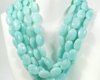 ON SALE Smooth Amazonite Oval Beads Polished Blue Green Center Drilled Earth Mined Gemstone - About 14 x10mm - 4 Inch or 8 Inch Strand