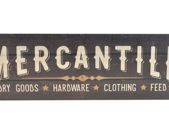 Mercantile Rustic Wood Wall Sign 6x18