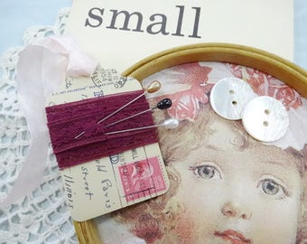 Small DIY Project Inspiration Supplies Lot Vintage Old Wood Embroidery Hoop Flashcard Corsage Pins Doily Lace Ect