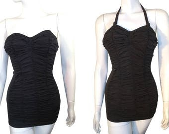BOMBSHELL Vintage 50s Jantzen Pin-Up Ruched Black Bathing Suit, Strapless or Halter Style Bathing Suit,  Small