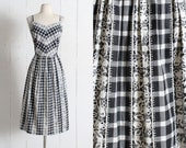 Vintage 1950s Dress | vintage 50s black white lace gingham print sun dress | summer casual day dress | xl xxl