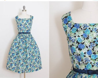 25% OFF SALE Vintage 50s Dress | vintage 1950s dress | purple floral party dress xs/s | 5793