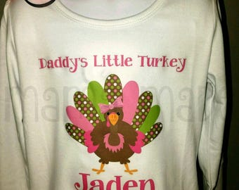 Daddy's Little Turkey Shirt and matching Turkey Hair Clip Little Turkey Shirt Pink and Green Turkey Shirt Pink Turkey Thanksgiving Shirt
