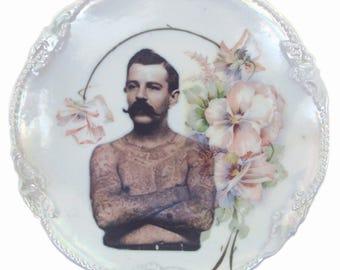 "SALE - Damaged - The Tattooed Man Portrait Plate 6.25"""
