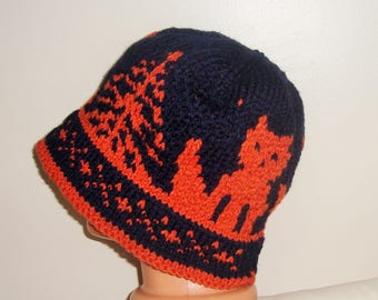 Mens Hats Brim Blue Orange Fox Knit Cute Adult Lovey Lover Gift for men