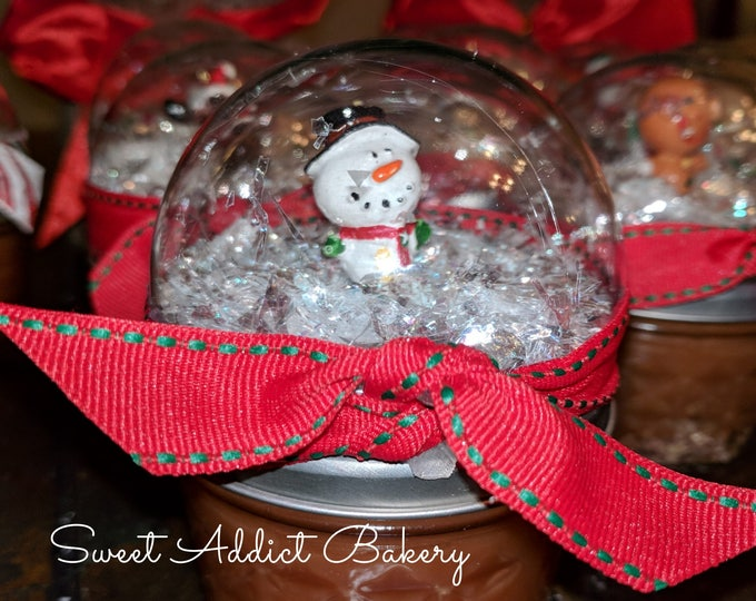 SNOWGLOBE CARAMEL SAUCE jars - make great gifts for teachers, neighbors, clients, hostess, coworkers, white elephant, secret santa