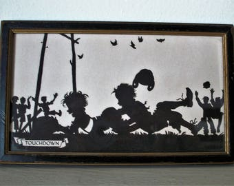 "Vintage Silhouette Picture, Buckbee Brehm ""Touchdown"" Children, Framed Football Players"