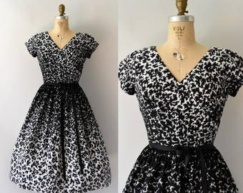 1950s Vintage Dress - 50s Jeanne Durrell Black and White Cotton Dress