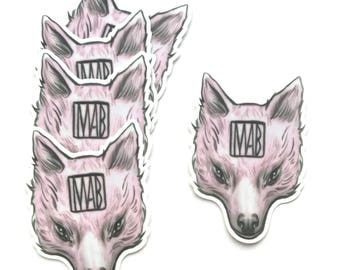 Howl and Hide logo Mab Pink Wolf - vinyl sticker - by Mab Graves -
