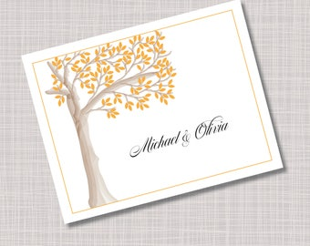 Custom Orange Tree Wedding Thank You Note Cards