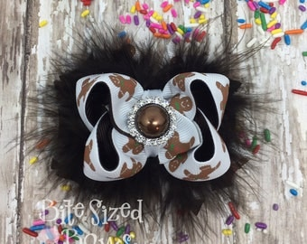 Christmas Bow, Baby Girl Gift, Unique Baby Gift, Small Gingerbread Bow, Newborn Headband, Ready to Ship, Marabou Bow, Small Boutique Bow