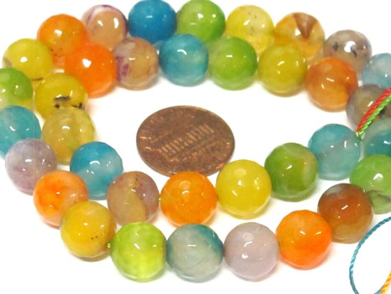 1 full strand colorful agate gemstone beads 10 mm size 14 inches orange lime yellow mix colors - GM379B