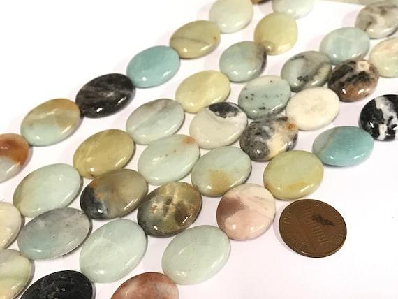 10 Beads -  Large Oval eye shape amazonite gemstone beads 20 mm x 15 mm - GM443