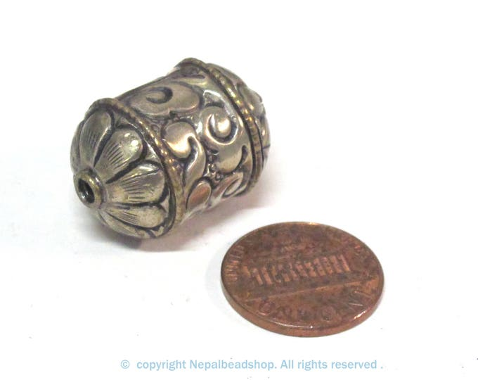 1 BEAD - Beautiful cylinder scroll shape Tibetan silver repousse lotus floral design bead-  BD942B