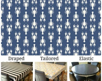 Oilcloth aka laminated cotton heavyweight tablecloth pick fitted by TAILORING or fitted by ELASTIC or DRAPED, navy with ivory lobsters