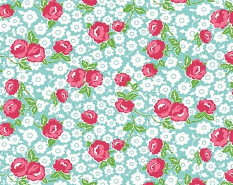 Dainty Darling Fabric by Lindsay Wilkes from The Cottage Mama for Riley Blake Designs and Penny Rose Fabrics - Teal Main Floral