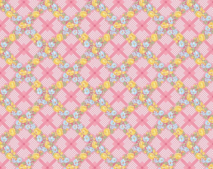 Mae Flowers Fabric by Lindsay Wilkes from The Cottage Mama for Riley Blake Designs and Penny Rose Fabrics - Pink Plaid