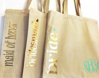 Bridesmaids tote bag, personalized tote bag,
