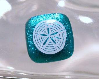 Fused Dichroic Glass Cabochon..SAND DOLLAR...Dichroic Cab for Jewelry Designers