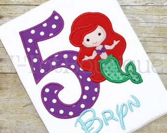 SALE - Little Mermaid Princess Birthday Girl Embroidered Shirt or Bodysuit - Spring Summer Vacation Trip to the Beach - FREE PERSONALIZATION