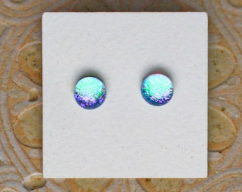 Dichroic Glass Earrings , Light Green/Orchid DGE-1262