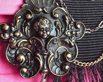 SOLD to J - of roses and angels - vintage assemblage necklace cherub art deco rhinestone cameo book chain floral ribbon victorian bohemian