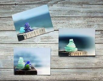 Beach Glass Photography- Set of 3 Cairn Photo Prints, Sea Glass, dreamy coastal wall art, bokeh, macro, zen meditation , seaside beach decor