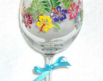 Wine Glass Hand Painted Tropical Flower