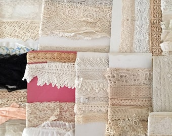 rare large antique lace lot for sewing or doll making