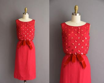 vintage 1950s red chiffon Valentine beaded dress Carlye XS 50s saucy cocktail party dress