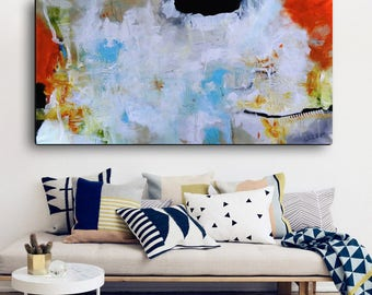 White painting red blue art, orange Blue Print, Large print on canvs, long painting print on canvas, canvas print, office lobby decor