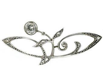 ON SALE Diamond Floral Brooch - Art Nouveau antique flowery pin set old mine brilliant cut diamond .25ct 18k rose gold silver