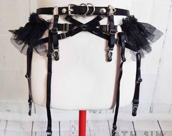 PRE-ORDER: Black Faux Leather Frill Garter Belt, Black Ruffle Garter Belt, Black Faux Leather Garter Belt, Black Burlesque Garter Belt