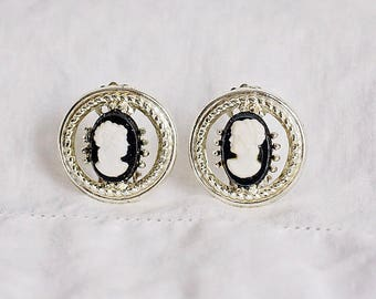 Cameo Style Clip On Earrings Silver Tone