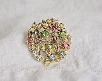 Pastel Crystal Flower Bouquet Brooch