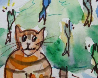 Kitty Cat Christmas tree aceo artist trading card miniature original watercolor painting Art by Delilah