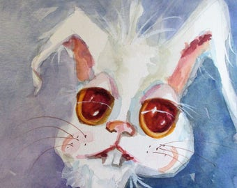 White Bunny 12x9 watercolor painting Delilah art