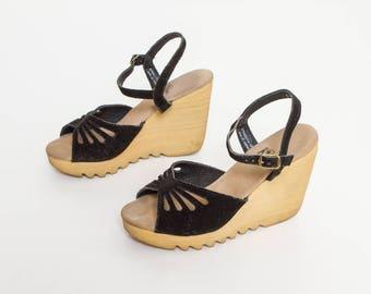 vintage 70s platform sandals black cutout shoes by Kinney