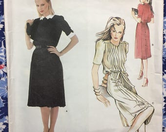 Vogue 2473 UNCUT vintage pattern Misses Dress and Belt Size 10 Vogue American Designer pattern by Albert Nipon circa 1980