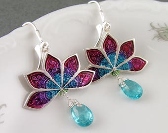 Rainbow lotus flower earrings, handmade eco friendly fine silver and apatite earrings-OOAK