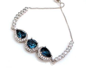 bridesmaid jewelry bracelet bridal wedding christmas party gift swarovski rhinestone teardrop pear round montana navy cz slider adjustable