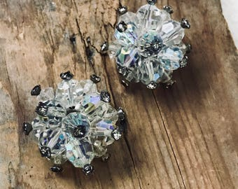 Vintage Starburst Crystal Clip On Earrings Holiday Jewelry Wedding Jewelry Gifts Under 30 Vintage Style New Years Crystal Jewelry