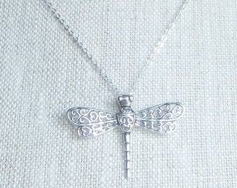 CIJ SALE Sterling silver dragonfly necklace, dragonfly pendant, dainty dragonfly, dragonfly jewelry, filigree dragonfly, layering necklace,