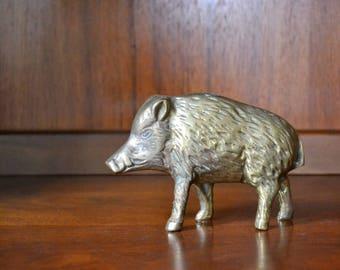 vintage brass warthog figurine / vintage brass pig / paperweight desk decor
