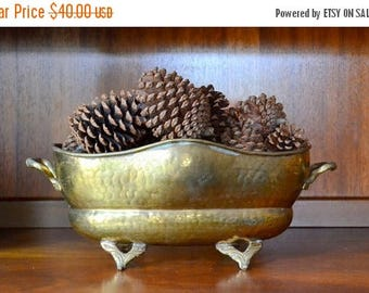 SALE 25% OFF vintage brass planter dish / metal planter / boho home / serving dish / rustic home decor
