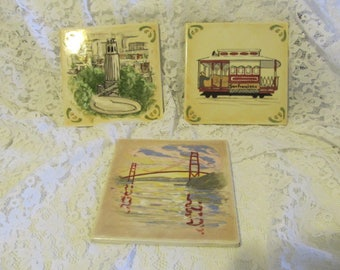 Vintage Hand Painted San Francisco Bay Area Tiles